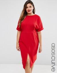 Платье с вырезом сзади ASOS CURVE - Красный
