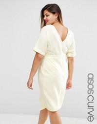 Платье с вырезом сзади ASOS CURVE - Лимонный