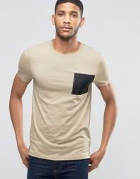 Облегающая бежевая футболка с карманом в стиле милитари ASOS