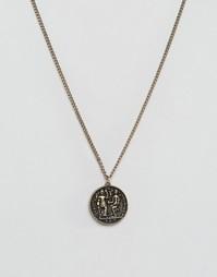 Золотистое ожерелье с монеткой ASOS - Золотой