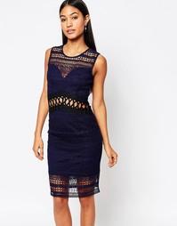 Структурированное платье миди с кружевными вставками Lipsy