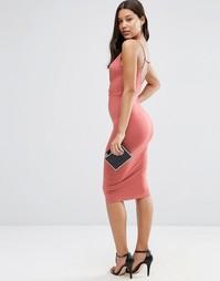 Облегающее платье миди с запахом спереди и бретельками сзади ASOS