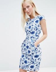 Цельнокройное платье с короткими рукавами QED London - Синий