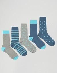 Набор из 5 пар носков в горошек и полоску ASOS - Мульти