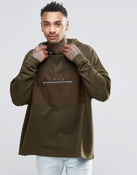 ASOS Oversized Longline Hoodie With Woven Pocket In Khaki - Хаки