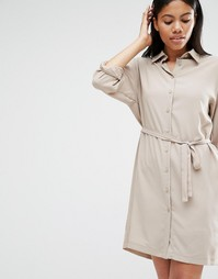Платье-рубашка с длинными рукавами и поясом Love - Серо-коричневый