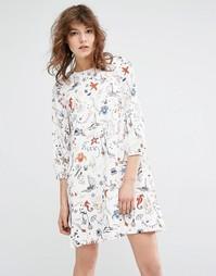Платье с принтом и длинными рукавами Essentiel Antwerp Miaga - Бежевый