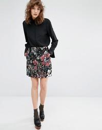 Расклешенная мини-юбка с гобеленовой отделкой Essentiel Antwerp Malabi