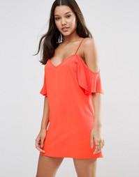 Платье-сорочка с открытыми плечами ASOS - Оранжевый