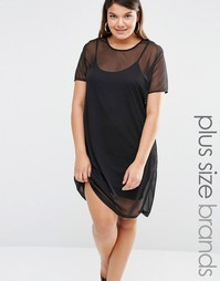 Missguided Plus Mesh T-Shirt Dress - Черный