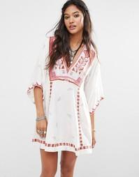 Платье с присборенной юбкой и вышивкой Free People Tulum