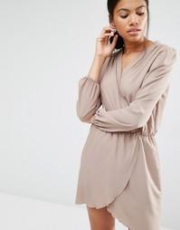Платье с длинными рукавами и запахом Love - Кэмел