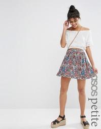 Расклешенная юбка с пестрым принтом ASOS PETITE - Мульти