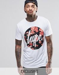 Футболка с принтом роз и логотипом Hype - Белый