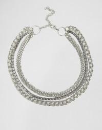 Короткое ожерелье из цепочек Glamorous - Серебряный