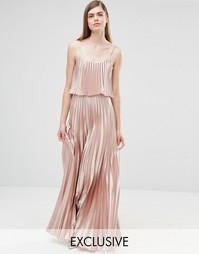 Платье 2-в-1 с плиссировкой True Violet - Розовое золото