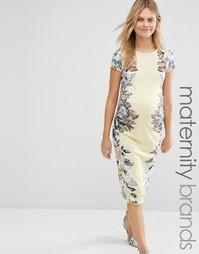 Облегающее платье с цветочным принтом и короткими рукавами Bluebelle M