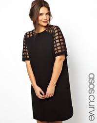 Цельнокройное платье с решетчатыми рукавами ASOS CURVE - Черный