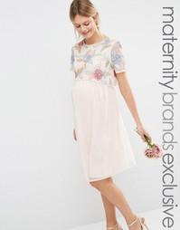 Приталенное платье для беременных 2 в 1 с вышитыми розами Maya Materni