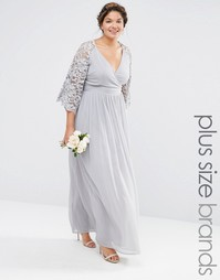 Платье макси с кружевными рукавами и запахом спереди Lovedrobe - Серый