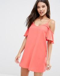 Платье мини с открытыми плечами Lipsy - Коралловый