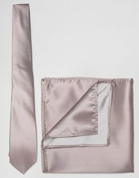 Свадебный розовый галстук и платок для пиджака ASOS - Темно-розовый