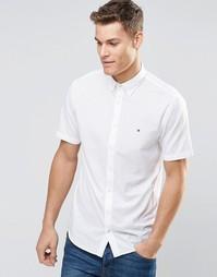 Белая поплиновая рубашка с короткими рукавами Tommy Hilfiger