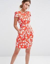 Платье с короткими рукавами и цветочным принтом Closet - Красный