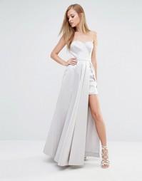 Атласное платье макси для выпускного Fame and Partners - Светло-серый