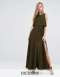 Платье макси 2 в 1 с высоким разрезом Fame and Partners - Хаки