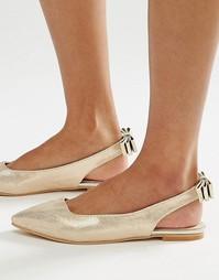 Золотистые туфли на плоской подошве с открытой пяткой Lost Ink Bethany