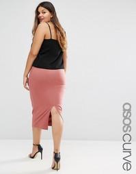 Трикотажная юбка-карандаш миди ASOS CURVE - Розовое дерево