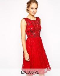 Кружевное короткое приталенное платье без рукавов Frock and Frill