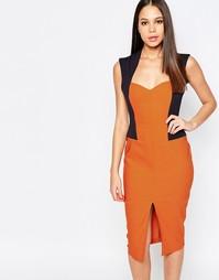 Платье-футляр с разрезом Vesper Audrey - Оранжевый