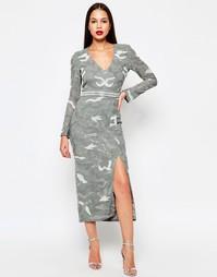 Платье миди с разрезом Virgos Lounge Keely - Серый