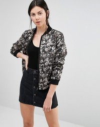 Helene Berman Bomber Jacket In Black & Bronze Floral Jacquard