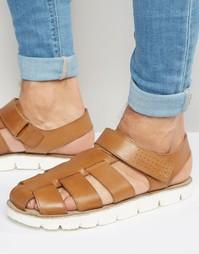 Светло-коричневые кожаные сандалии Dune - Рыжий