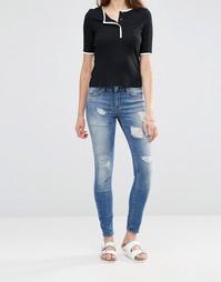 Облегающие джинсы с заплаткой Noisy May Lucy - Синий
