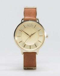 Часы на светло‑коричневом кожаном ремешке Armani Exchange Olivia AX531