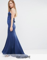 Атласное платье‑комбинация макси с годе Fame and Partners