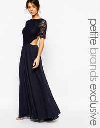 Платье макси с кружевным лифом и вырезами John Zack Petite