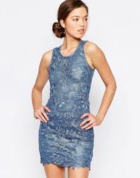 Кружевное платье Glamorous - Синяя джинсовая ткань с кружевом
