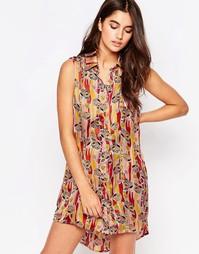Платье-рубашка без рукавов с принтом Glamorous - Желтый