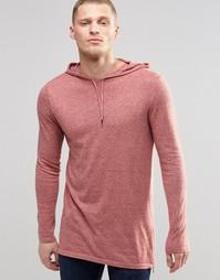 Хлопковое удлиненное худи с молниями по бокам ASOS - Розовый и серый