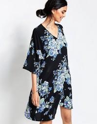 Платье с цветочным принтом Ganni - Синий цветок