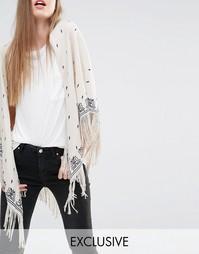 Эксклюзивный широкий шарф с цветочной вышивкой и кисточками Becksonder Becksondergaard