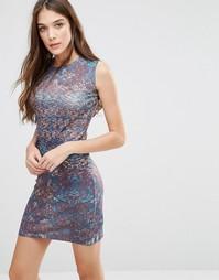 Облегающее платье с принтом Lavand - Коричневый