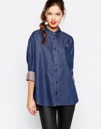 Джинсовая рубашка в стиле оversize с принтом в горошек Love Moschino