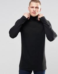 Черный удлиненный хлопковый джемпер‑водолазка ASOS - Черный