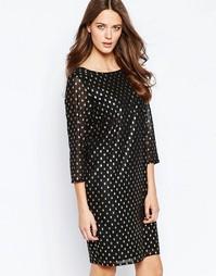 Платье в горошек металлик с высокой горловиной Ichi Brook - Черный